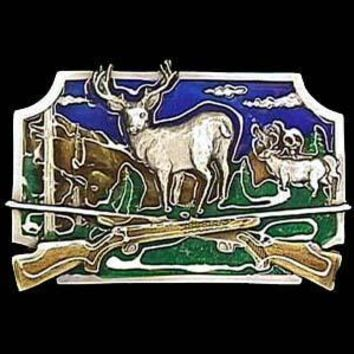Sports Accessories - Deer Hunting Enameled Belt Buckle