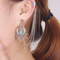Chain Ear Cuff Earrings Gothic Punk Clip Earring For Women Gpsy Boho Earrings 2015 New Fashion Jewelry