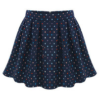 ROMWE | ROMWE Zippered Floral Embroidered Pleated Blue Skirt, The Latest Street Fashion