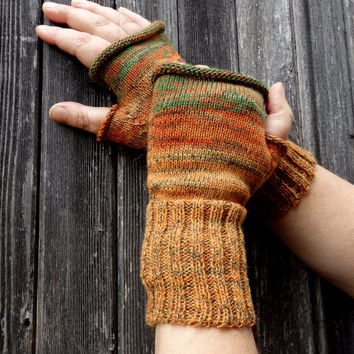 knit gloves, knitted colorful fingerless gloves, orange green mittens, knitting wool arm warmers, multicolor hand warmers, winter gloves