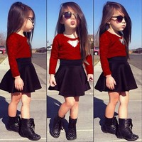 Trendy Clothing Sets for Baby Girls O-Neck Lace Top High-waist Pleated Skirt Spring Autumn All-match Children Clothes Set VA0089 smileseller