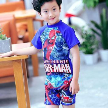 Childrens Swimsuit Cute 2018 New Spiderman cartoon kids swimming suit , children  plus size swimwear, two piece bathing suit baby Gift Hat Blue KO_25_2