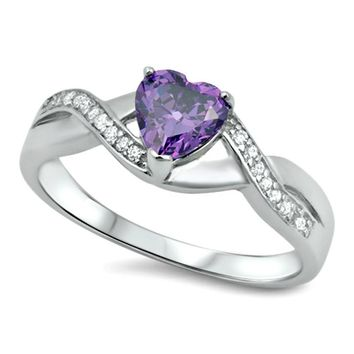 .925 Sterling Silver Amethyst Heart Ladies Infinity Ring size 5-11