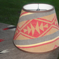 Southwest Western Lamp Shade. Hand Crafted Covered in Vintage Pendleton Blanket.  Brown, Gold, Orange, Yellow, Sage 14 X 10 X 8
