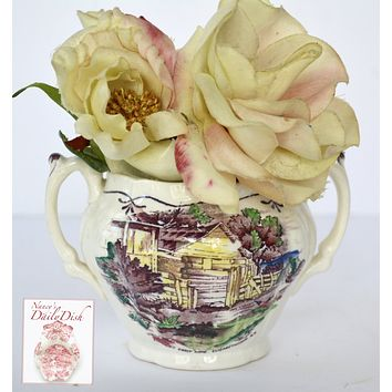 Purple Transferware Dual Handled Small Vase Open Sugar Bowl Early American Scenes Hand Painted Booths