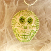 Green Dios de la meurte Day of The Dead Green Ceramic Pendant Necklace Jewelry  Sugar skull