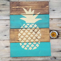 Wood sign, Pineapple sign, Pallet sign, Reclaimed wood, Wood wall art, Wooden signs