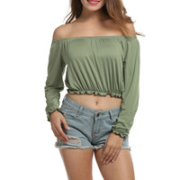 Women Sexy boat neck Solid Color strapless Long Sleeve blouse top