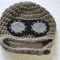 Baby Aviator Hat - Newborn Pilot Hat with Goggles - Baby Boy Beanie - Photography Prop - Hats for Boys