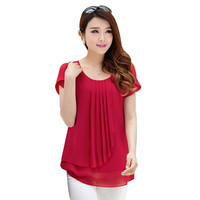 2016 summer women chiffon blouse tops  O-Neck Short sleeve Casual loose Blouses LR0089M