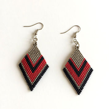Silver Miyuki Bead Earrings,Beadwork Earrings,Beaded Earrings,Brick Stitch Earrings,Silver Earrings,Black Earrings,Red Earrings,