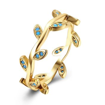 2017 Fashion Women Rings Gold/Black Color Tree Rattan Shape Blue Turquoises Gems Wedding Rings For Women
