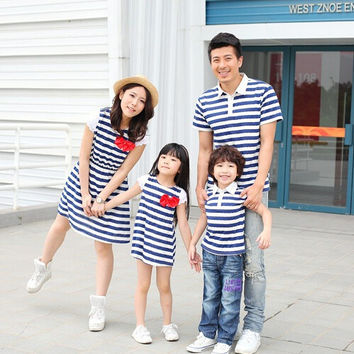 family look striped clothes short sleeve shirt and dress