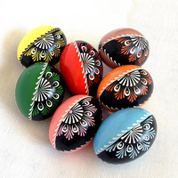 Set of 7 Hand Decorated Painted Chicken Easter Egg, Traditional Slavic Wax Pinhead Chicken Egg, Kraslice, Pysanka