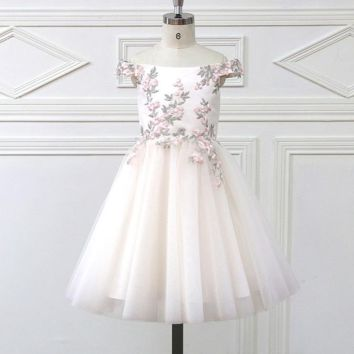 Romantic Tulle Flower Girl Dress Full Sleeve for Weddings Appliques Girl Party Communion Dress Pageant Gown