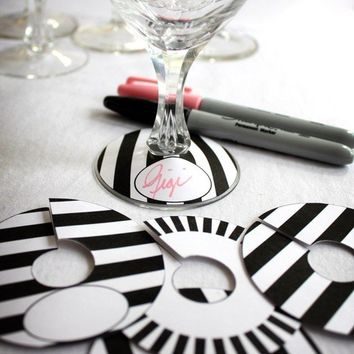 Printable Paper Black and White Stripe Collection Wine Glass Slipper Name Card Tag