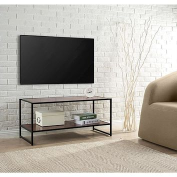 Modern Design 40-inch TV Stand in Metal / Brown Wood Finish