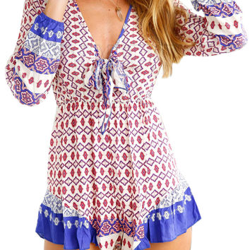 Red, White and Blue Printed Romper