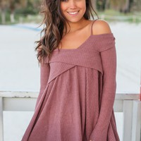 Light Maroon Knit Off Shoulder Tunic