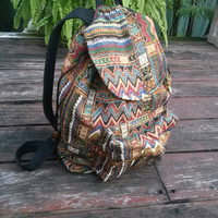 Aztec Tapestry Ethnic Ikat Tribal Woven Backpack Boho Hippie Design Rucksack Gypsy Nepali Handwoven Patterns Bags For Beach School 14x12inch