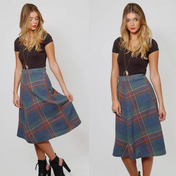 Vintage 70s PLAID Skirt Blue WOOL Indie A-Line Skirt Winter Retro Midi Skirt SCHOOLGIRL Wool Skirt
