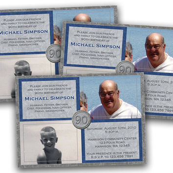 Navy and Silver Photo Adult Birthday Invitation - Birthday Invitations for Men - Elegant then and now invites - Man Birthday Invites - 90th