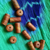 Copper, Gold, & Translucent Cylinder and Rondelle Shaped Beads for Crafting Handmade Beading Supplies