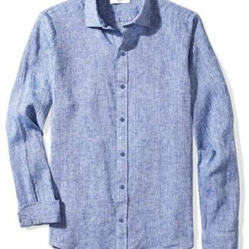 Men's Buttoned Down Shirts Fitted Spread-Collar Linen Sport Shirt