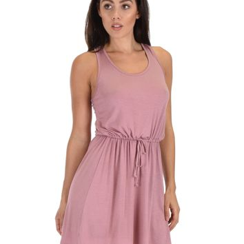 Lyss Loo At Ease Waist Tie Mauve Tank Dress