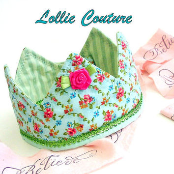 Fabric Crown, Princess Birthday Hat, Dress up Crown