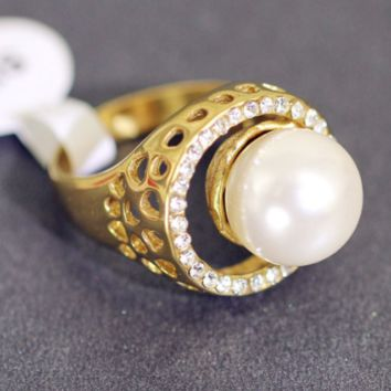 Women ring titanium steel stainless steel retro accessories simple pearl ring