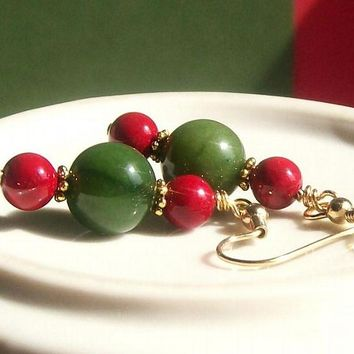 Green and Red Gemstone Jewelry Dangle Earrings, Holiday Jewelry