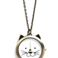 ModCloth Cats Cat Your Eye on the Time Necklace
