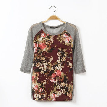 Round-neck Floral Print Knit Tops T-shirts Bottoming Shirt [6047721473]