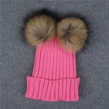 DCCKJG2 Candy Color Female Caps Winter Warm Two Ball Cute Beanies Crochet Knit Beanie Hats High Quality Faux Fur Women Thick Caps Pink