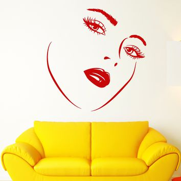 Vinyl Wall Decal Girl Face Woman Makeup Sexy Lips Eyelashes Stickers (2506ig)
