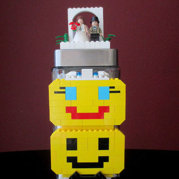 Lego Wedding,Bride & Groom,Glass Candy/Keepsake Jar~LEGO Wedding Gift, Wedding Shower Gift,LEGO Wedding Cake Topper,Minifigures, Centerpiece