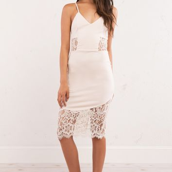 Bodycon Mini Dress with Lace Insets and Lace Bottom Extension in Cream