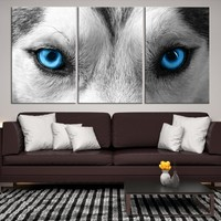 94914 - Husky Eye Wall Art Animal Canvas Print