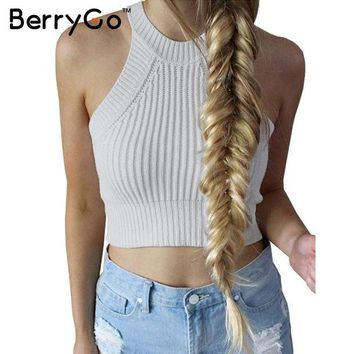 LMFUS4 BerryGo chic knitted halter bustier crop top Women summer beach sexy white camis Off shoulder elastic tube tank tops knitwear