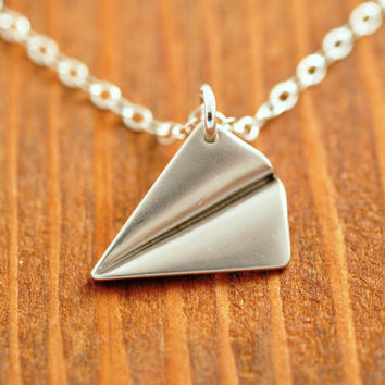 Silver Plane Necklace - airplane necklace, origami necklace, paper plane necklace, silver airplane, 3d, sterling necklace