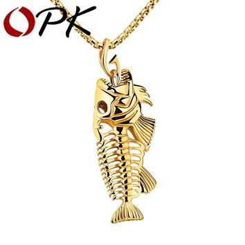 OPK Fish Bone & Fishing Hook Pendant Necklaces Punk Style Men 316L Steel Link Chain 3 Colors Personality Jewelry GX1073