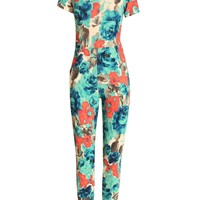 Turquoise Blue Floral Print Jumpsuit with Front Pockets
