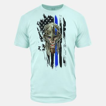 Thin Blue Line Spartan Ice Blue Tri Blend T-Shirt