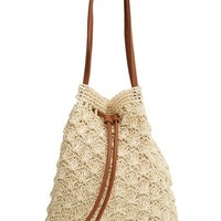 Street Level Crochet Straw Bucket Bag | Nordstrom