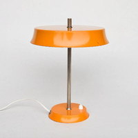 Mid Century Modern Saucer Desk Lamp /  Table Lamp / Verner Panton Style Atomic Lighting / 70's Space Age Retro Decor / Orange