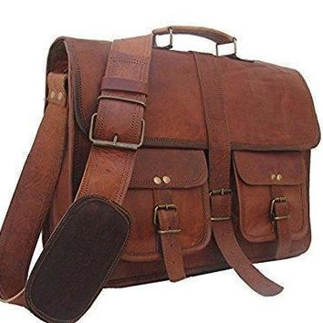 IN-INDIA Hard Bound Men Hunter Pure Leather Briefcase Messenger Bag - Fits Laptop Upto 15.6Inches