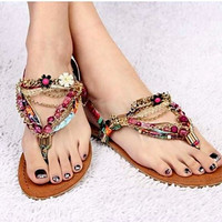 Fashionable Greek styled purely handmade jeweled women Sandals