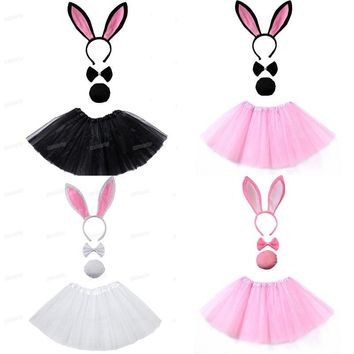 Cool Bunny Ear Headband Tutu Set Black pink white   Costume Hen Party big Rabbit ear hairbands Cosplay Kids Girl  Halloween ChristmasAT_93_12