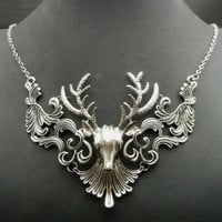 Silver Gold or Black Faux Deer Antler Birthday Fashion Bridal Necklace